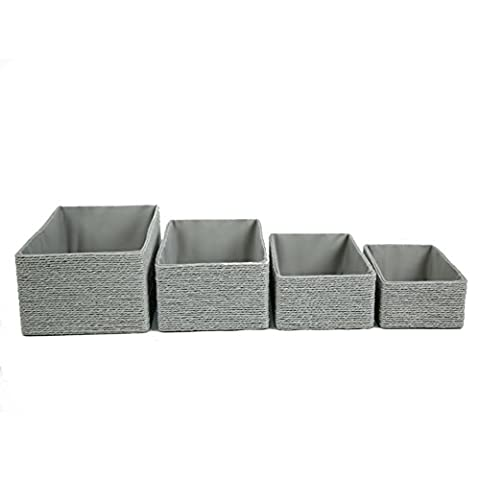 Storage Baskets, Closet Maid Drawer Organizers Grey, Stackable Cabinets Cubes for Home and Office