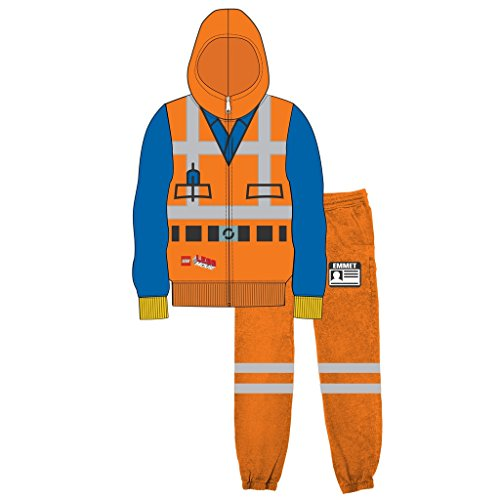 Emmet Kostüm - LEGO Movie Emmet Orange Jungen Two-Piece Zip-Up Kostüm Hoodie & Sweatpants Set (10/12)