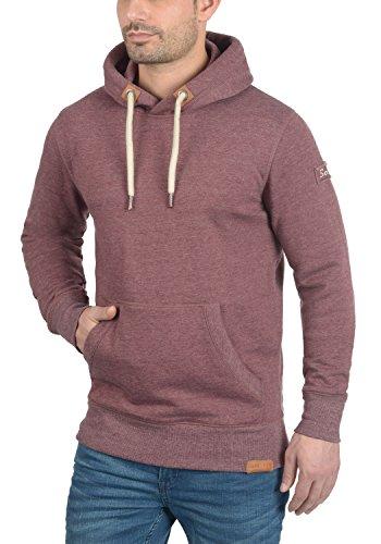 SOLID TripHood Herren Kapuzenpullover Hoodie Sweatshirt aus hochwertiger Baumwollmischung Wine Red Melange (8985)