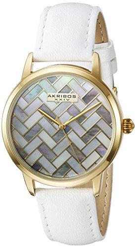Akribos XXIV-Orologio da donna al quarzo Con quadrante in madreperla, Display analogico e cinturino in pelle bianco AK906WTG