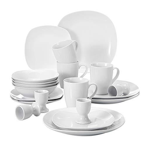 MALACASA, Serie Elisa, 20 teilig Set Porzellan Tafelservice Kombiservice Geschirrset, je 4 Dessertteller, Speiseteller, M
