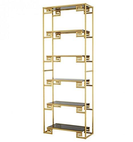 Casa Padrino Luxus Regal Schrank Gold mit Rauchglas - Luxus Qualität