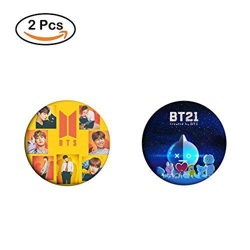 Loheag Clinor 2 Pack BTS Brosche Pin | BTS Bangtanboys Members Fanartikel | Jungkook, Jimin, V, Suga, Jin, J-Hope, Rap Monster | Beste Geschenk für The Army (Style 04) (Pin-album)