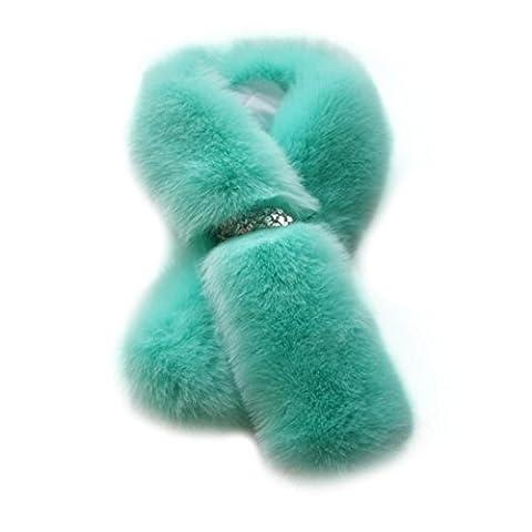 Covermason Chic Women's Winter Warm Faux Fur Scarves Shawl Scarf (Green)