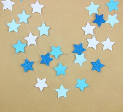 Fascola Papiergirlande, 5 Zacken, zum Aufhängen, Dekoration für Hochzeit, Geburtstag, Party, Babyparty, Hintergrund, Dekoration, 3 m, 2 Stück weiß/blau -