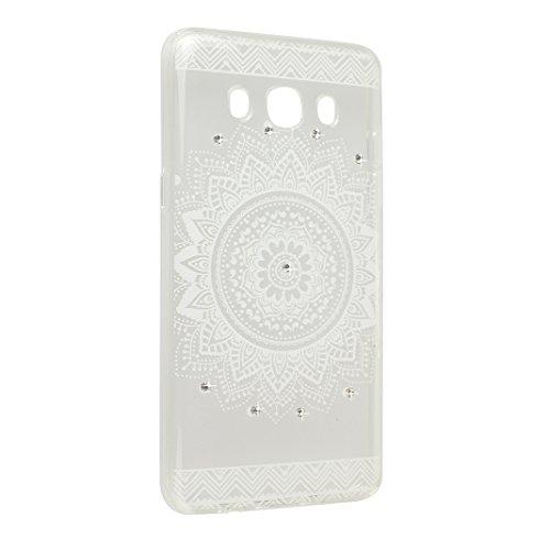 Galaxy J5 2016 Schutzhülle, Rosa Schleife Samsung Galaxy J510 Crystal Case Handyhülle Ultra Dünn TPU Silikon Backcover Durchsichtig Gel Case Diamond Bling Schutzhülle klar für Samsung Galaxy J5 2016 m a - Weiß Mandala