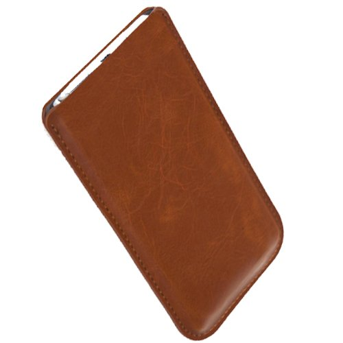 Braune Ultra Slim Tasche für ZTE Nubia Z5s Mini Schutzhülle Handytasche Smartphone Etui Case Handy Cover Schutztasche Handyhülle
