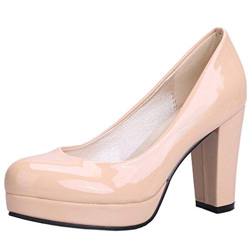 TAOFFEN Damen Classic Closed Pumps Slip On Block High Heel Schuhe Apricot