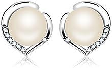J.Rosée Plata de Ley 925 Plata Esterlina Elegante Pendientes con PerlaBlanco Brillante Circonita Blanco Joya Original Regalos para Mujer