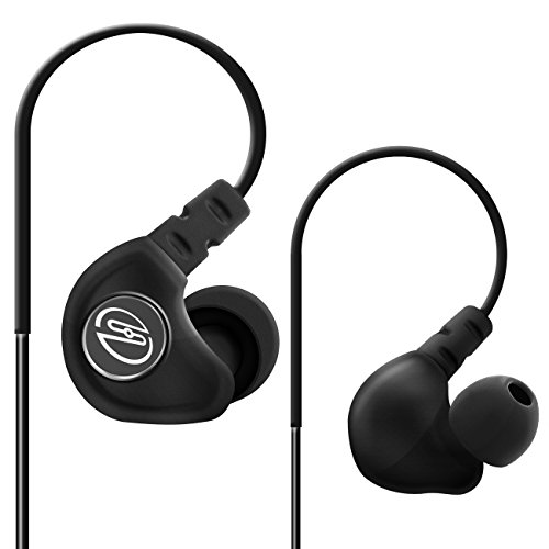 deleyCON SOUNDSTERS S19 In-Ear Sport-Kopfhörer - 3,5mm Klinken Stecker abgewinkelt - einstellbare Over-Ear Bügel - verschlaufungsfreies Rundkabel - Schwarz - für MP3 Player, Smartphone zum Jogging