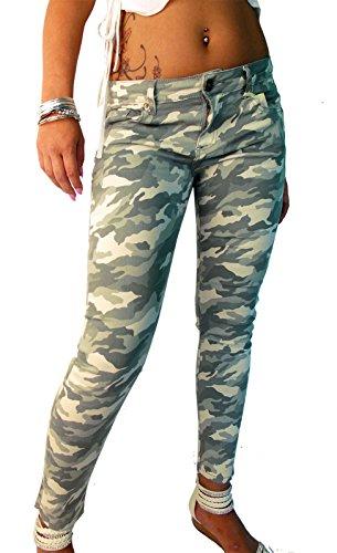 Damen Skinny Hose Camouflage, Größe:M-Maße beachten, Farbe:Khaki (Skinny Girls Look Good In Clothes)