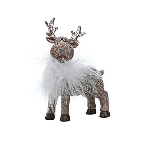 Pureday Figurine Renne Divo-avec Bijou de Cou en Plumes-polyresin-Environ 11 cm de Haut