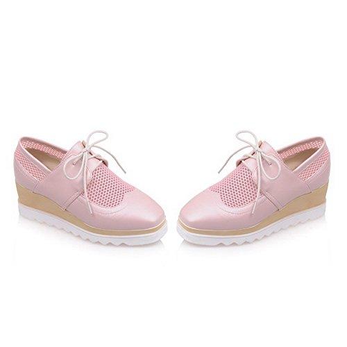 VogueZone009 Damen Schnüren Mittler Absatz Pu Leder Rein Quadratisch Zehe Pumps Schuhe Pink