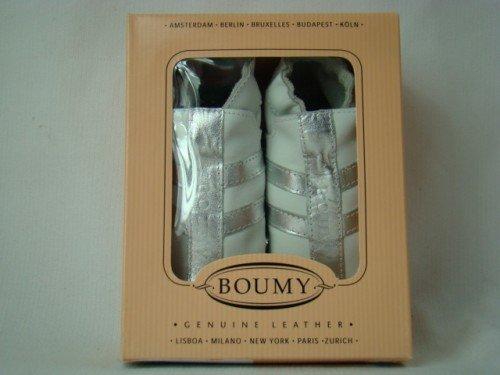 Boumy Krabbelschuhe Lauflernschuhe Babyschuhe verschiedene Farben und Modelle Weiß/Silber