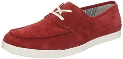 Clarks Men's Nadon Port Red Leather Sneakers - 5 UK