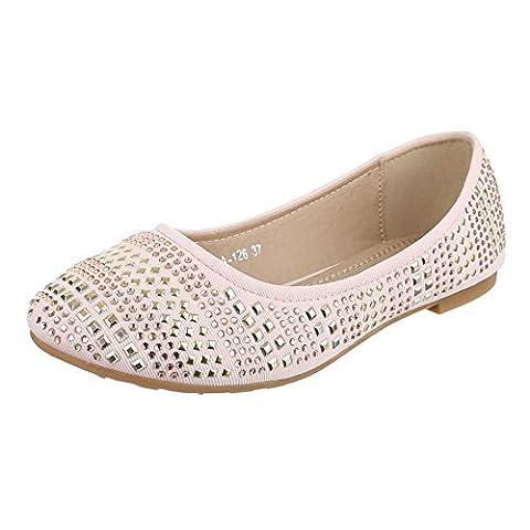 Damen Schuhe, A-126, BALLERINAS, PUMPS MIT STRASS UND NIETEN DEKO, Synthetik , Rosa, Gr 39
