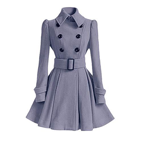 ZIYOU Damen Mantel Elegante Winter Warme Frauen Stehkragen Trench Coat Outwear Parka Jacke mit Gürtel (Grau,EU-38 / CN-L) Satin Trench