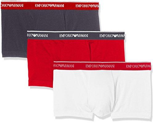 Emporio Armani Underwear 1113577P717, Mutande Uomo, Multicolore (Antrac/Rosso/Bianco 17544), Medium, (pacco de 3)