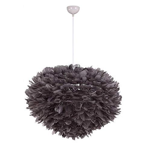 YI KUI Feder Kronleuchter, Kreative Minimalistische Vogelnest Feder Pendelleuchten, Modern für Schlafzimmer Wohnzimmer Esszimmer Dekoration Lampe,Gray,Small30cm -