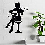 Hxfhxf Bar Décoration Femme Jouer Guitare Silhouette Autocollant Mural Musique Style Art Stickers Muraux Maison Guitare Art Vinyle Papier Peint 42 * 57Cm...