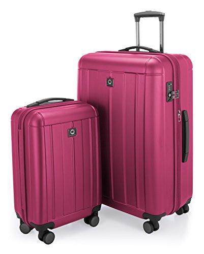 HAUPTSTADTKOFFER - Kotti - Set 2 Bagagli Rigidi, valigia grande e cabina (S & L), Rosa