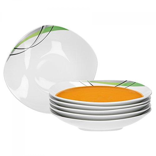 teller tief Donna 21,5cm - Suppenteller aus weißem Porzellan mit Linien- Dekor in schwarz, grau und grün ()