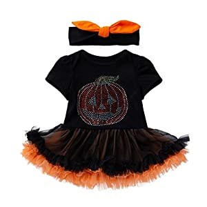Ears Baby Girls Halloween Clothes Infant Toddler Baby Girls Halloween Pumpkin Bow Party Dress Clothes Dresses