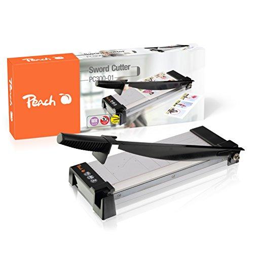 Peach PC300-01 Hebelschneider |DIN-A4 | schneidet 10 Blätter auf einmal |für Zuhause, im Büro, in der Schule | Metallgehäuse |transparente Anpressschiene - Peach Blättern