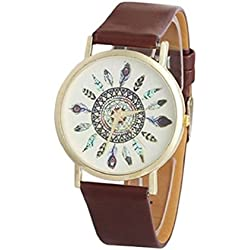 Tonsee Womens Vintage Feather Dial Pu Leather Band Quartz Analog Unique Wrist Watches