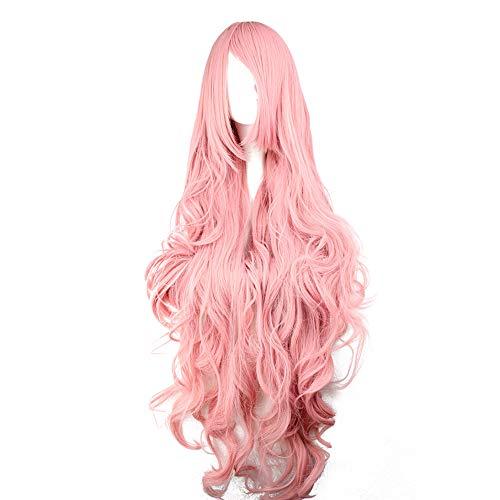100Cm Mujer Largo Rizado Rosa Color Pelucas Alta Calidad