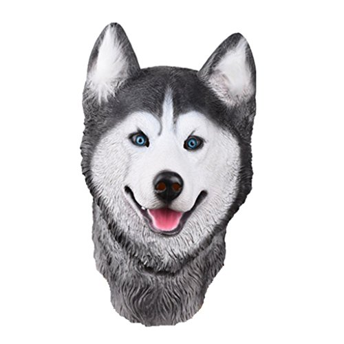 Kostüme Halloween Hund Labor (Auspicious beginning Siberian Husky Latex Tier Hund Kopf Maske, Neuheit Kostüm Gummi)