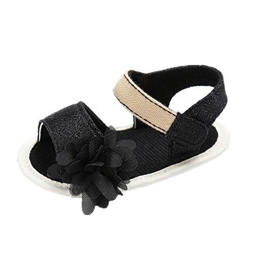 Baby Schuhe Auxma Baby Blumen Sandalen Kleinkind Mädchen Schuhe für 3-6 6-12 12-18 Monat (6-12 M, Schwarz) Schwarz