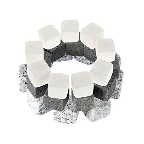Casavidas 9 Stück Whisky Steine Eiskühler in 3 Farben Getränkekühler Würfel Bier Rocks Granit mit Tasche Weinkühler Whisky Steine: China 3 -