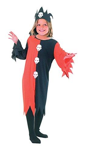 ildren Skull Clown Jester Costume Kids Joker Circus Party Fancy Dress (Large (11-14 years)) ()