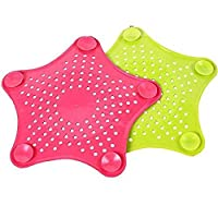 Sevia 2pcs Silicone Sink Strainer Floor Drain Cover Hair Catcher Rubber Shower Trap Basin Filter for Bathroom Kitchen (Multi Color) Set of 2