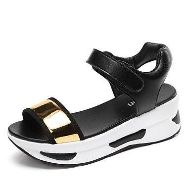 LQXZM La femme Confort sandales Semelles en cuir microfibre légère Printemps Été Automne Bureau extérieur &AMP; Carrière Casual crochet marche &AMP; LoopWedge Gold