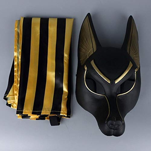AffoOn Halloween Party Ägyptische Cosplay Gesichtsmaske Wolf Kopf Schakal Tier Maskerade Requisiten (Anubis Kostüm Halloween)