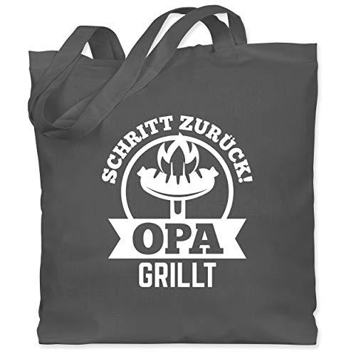 Shirtracer Grill - Schritt zurück Opa grillt - Unisize - Dunkelgrau - WM101 - Stoffbeutel aus Baumwolle Jutebeutel lange Henkel