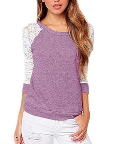 ZANZEA Women's Sexy Spring Casual Lace Crochet Long Sleeve Backless Blouse Top T-Shirt Purple M