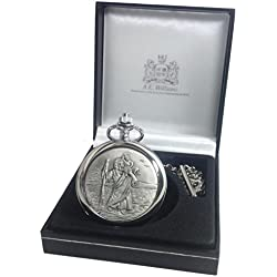 Confirmation Gift, Engraved St Christopher Pocket Watch in a Gift Box, Boy's Confirmation Gift