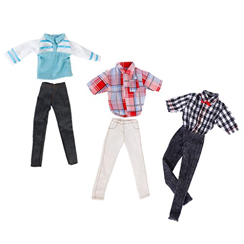 Footful 3 Set di Bambola Barbie A Mano Abbigliamento Casual T-shirt / Pantaloni In Forma Ken Doll