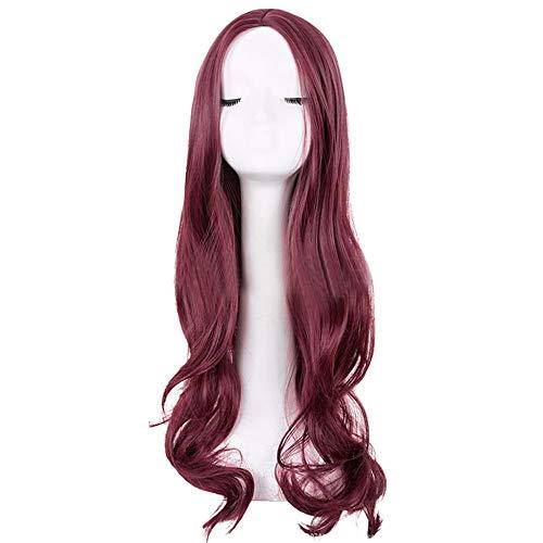 Quaan-Home Damen Perücke lockige Frauen Lang Haar Wig Dunkelbraun für Karneval Cosplay Party Fasching Kostüm Ombre Haarteil Lila zu Grau Glatt Ombre synthetische Perücke Naturale Länge ()
