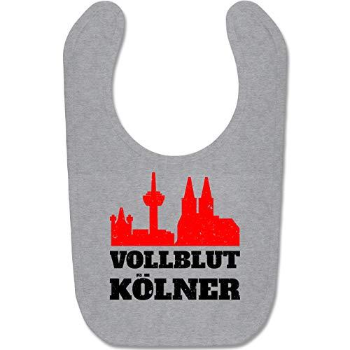 Städte & Länder Baby - Vollblut Kölner - Unisize - Grau meliert - BZ12 - Baby Lätzchen Baumwolle