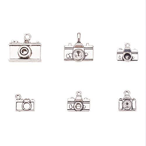 PandaHall Elite 36 stücke Antike Tibetischen Stil Legierung Silber Schmuck Handgemachte DIY Materialien Vintage Kamera modellierung Anhänger
