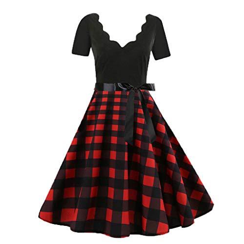 MAYOGO Festliche Kleider Vintage 1950er Abschlussball Kleider Damen Musikalische Druck Hepburn Kleid Swing Kleid Retro 50s Rockabilly Kleid Hinweis Druck Schwingen Kleid Schaukel - Prinzessin Peach Plus Kostüm