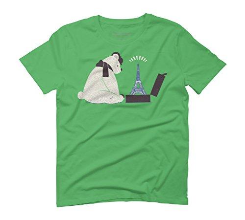 Traveler Tourist Eiffel Tower Bear Paris Men's Graphic T-Shirt - Design By Humans Green