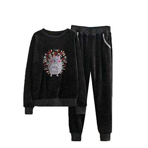 YiLianDa Costumes Sport Mode Femme Classique Velours Sweats Tops + Pantalons Joggings Survêtements 2pcs Noir