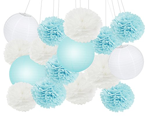 Furuix 18 Pcs Lantern Decorations Boy Baby Shower White And Blue Mixed Tissue Pom Flower Paper Party Favors Wedding