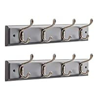 OCCO Resko Coat Rack Wall Set of 2 Mounted with Coat Hooks I Strong Wall Hooks Heavy Duty I 4 Coat Hooks On Grey Board I Wall Hooks Decorative - 45x18cm
