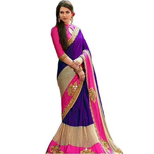 Active Women's Georgette & Benglory Fabric With Embroidery & handwork Saree Purple...